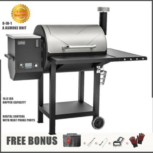 ASMOKE Wood Pellet Smoker BBQ Grill Digital Control 700 sq. in. with Free Cover