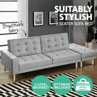 3 Seater Sofa Bed Linen Fabric Modular Recliner Lounge Futon Couc 535 Melbourne Cbd
