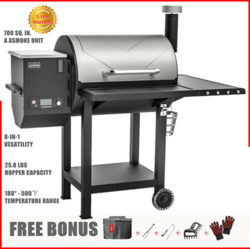 ASMOKE Max. 500℉ Wood Pellet Smoker BBQ Grill Digital Control with Free Cover