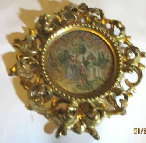 Exquisite Antique Petit Point Round Pastoral Tapestry Ornate Gold Covered Frame