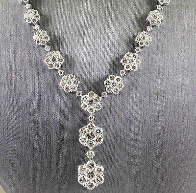 Round Flower Dangle Diamond Fashion Tennis Drop Necklace 18K White Gold 10.0Ct