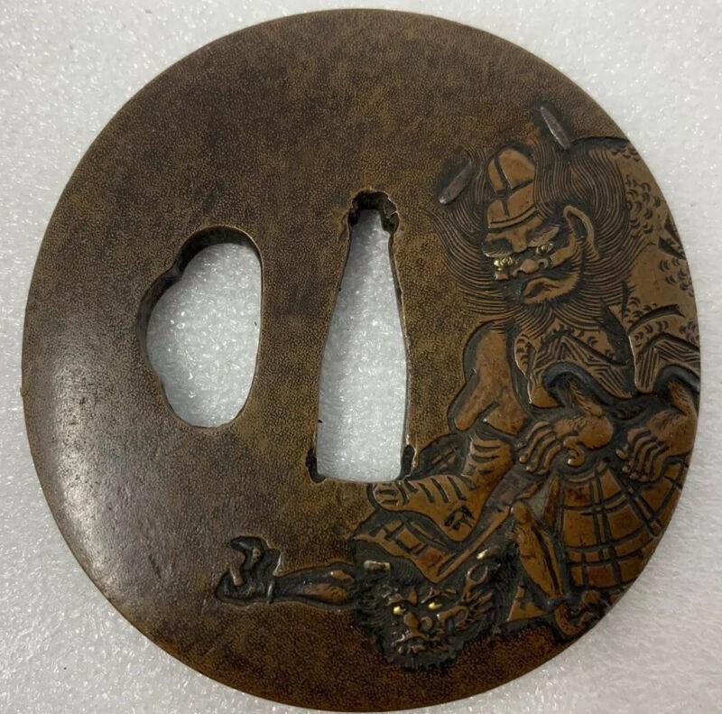Antique Tsuba Katana Guard Shoki Vanquishing Oni Demon Issando Joi Sentoku
