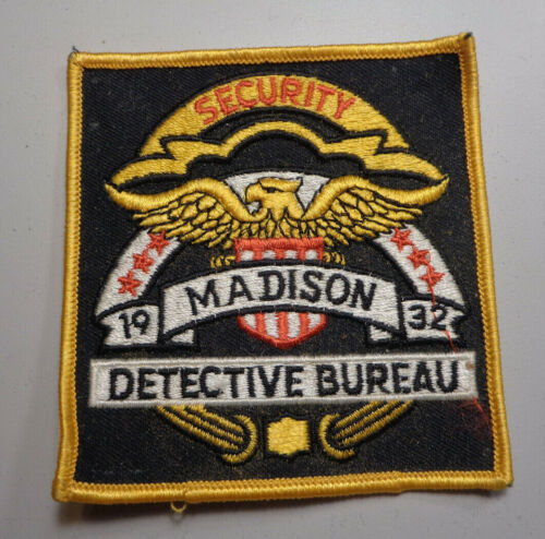 Vintage Madision Detective Bureau Embroidered Police Shoulder Patch Cheesecloth