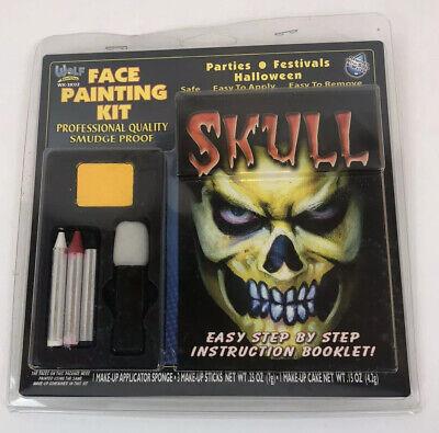 Halloween Make Up Skull Face (Wolf Novelties Skull Face Painting Makeup Kit Halloween w/ Instruction)