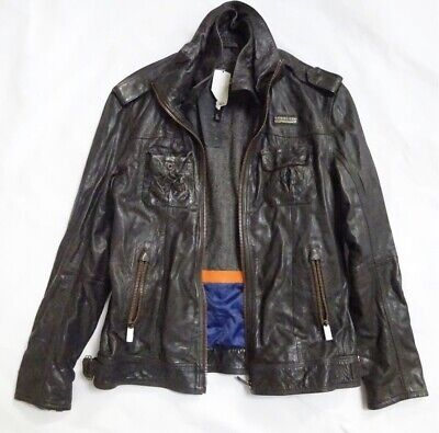 Original Superdry brown leather jacket size XL