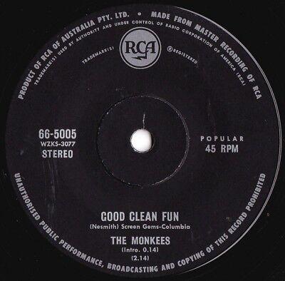 Monkees ORIG OZ 45 Good clean fun VG+ '69 RCA 665005 Sunshine Pop Bubblegum