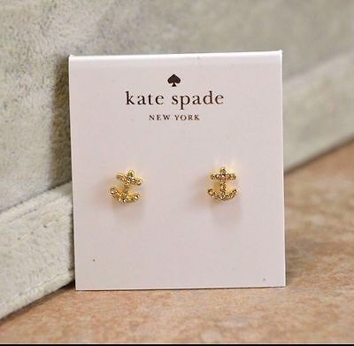 Kate Spade Gold Plated Pave Anchor Stud anchors Earrings