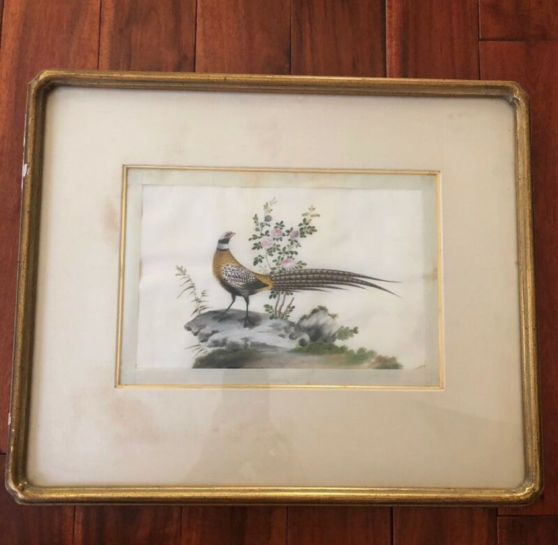 antique Chinese export Rice paper watercolor Framed painting