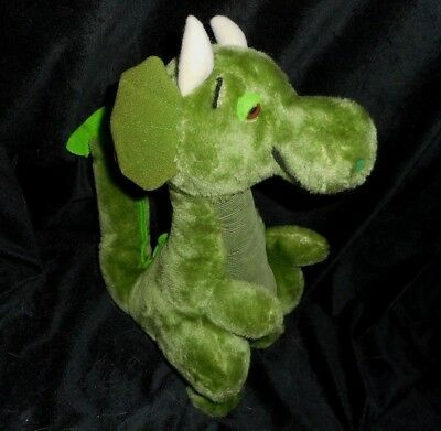12  Vintage 1981 R Dakin Green Dragon W  Wings Stuffed Animal Plush Toy Dino