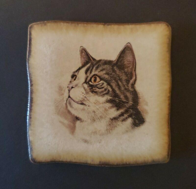 "Vintage Small Ceramic Tile Tabby Cat 2 1/4"" x 2 1/4"""