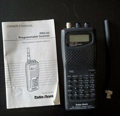 Radio Shack 200 Channel AM/FM Programmable Scanner PRO 62 Triple Conversion