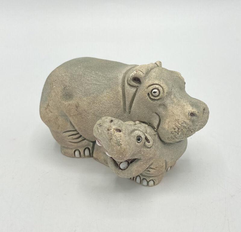 Signed COAD Sculpted Clay Hippopotamus Mom & Baby Figurine Peru