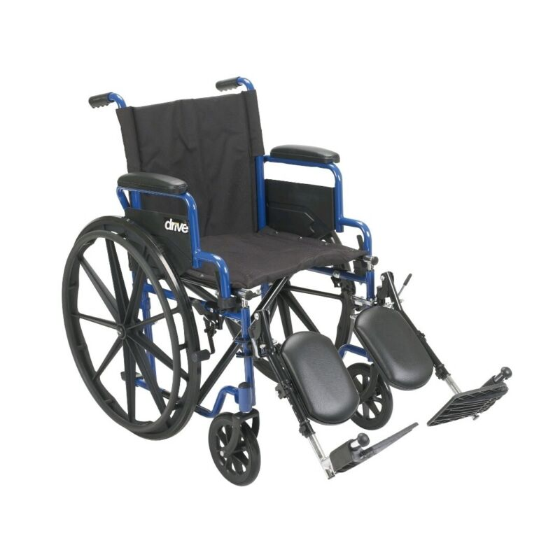Drive Medical Blue Streak Wheelchair with Flip Back Desk Arms, Elevating...