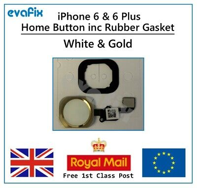 New iPhone 6  iPhone 6 Plus Home Button inc Rubber Gasket - White/Gold