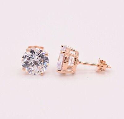 Diamonique Rose - Diamonique CZ Basket Round Stud Earrings 14K Rose Gold Clad Sterling Silver 925