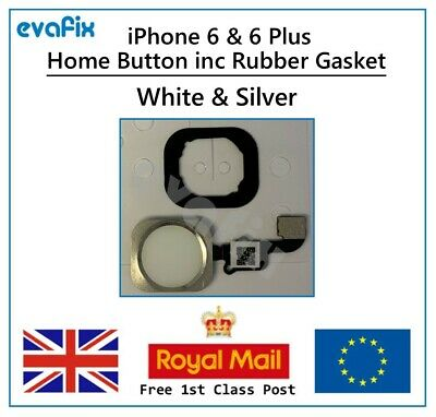 New iPhone 6  iPhone 6 Plus Home Button inc Rubber Gasket - White/Silver