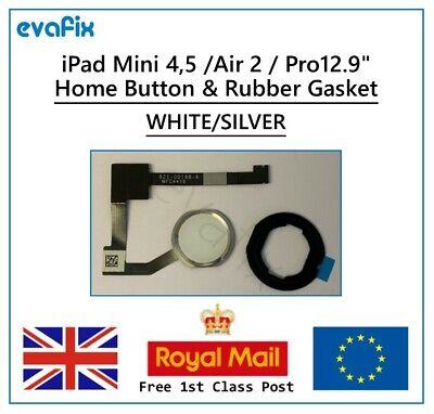 "New iPad Mini 4 & 5 Air 2 Pro 12.9"" Home Button inc Rubber Gasket White Silver"