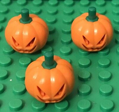 Lego X3 Pumpkin Jack O' Lantern Mini Figure Headgear with Green Stem Pattern Lot