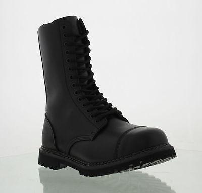 Mens Womens Grinders Herald CS Derby Black Steel Cap Toe 14 Eyelet Combat Boots 14 Eyelet Steel Toe Boot