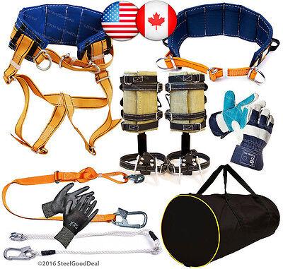 Tree Climbing Spike Set Spurs Saddle Safety Belt 2lanyard 2gloves Gear Bag New