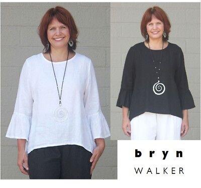 - BRYN WALKER Light Linen FRAN TOP Ruffle Slv Swing Blouse  1X 2X 3X  WHITE /BLACK
