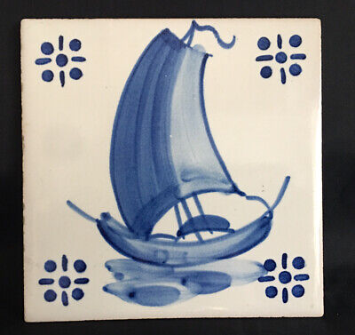 Vintage VIUVA LAMEGO Lisbon PORTUGUESE Blue & White YACHT SCENE WALL TILE