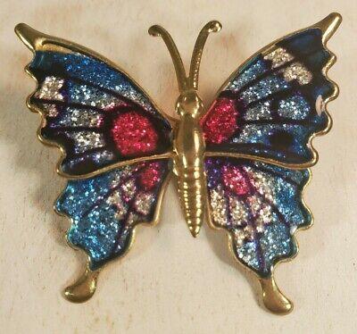 Vintage Butterfly Brooch Pin Blue Pink Gold glitter women's jewelry