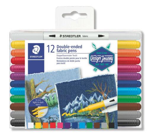 Staedtler Double Ended Fabric Pens - Assorted Colors (Wallet of 12) New