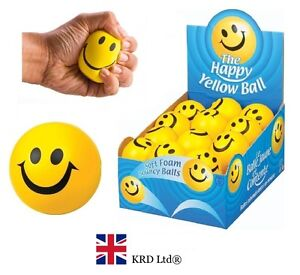 Kids HAPPY YELLOW FOAM BALL Smiley Face Squeeze Bouncy Stress Relief Fidget Toy