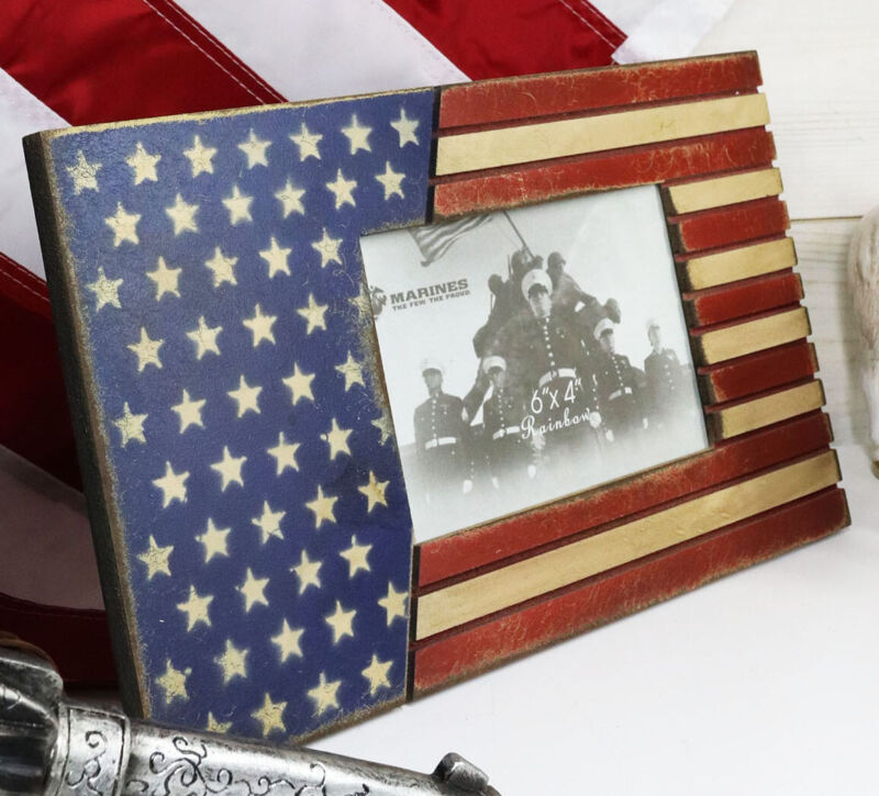 """Patriotic USA Star Spangled Banner American Flag 4""""X6"""" Picture Photo Frame"""
