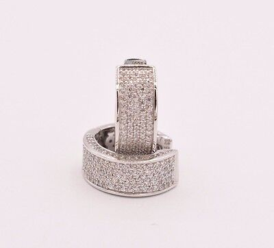 Diamonique CZ Micro Pave Huggie Hoop Earrings 14K White Gold Clad Real Silver