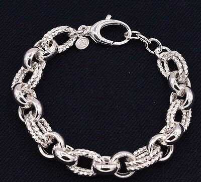 Bold Diamond Cut Rolo Link Bracelet Shiny Polished Real 925 Sterling Silver  Diamond Rolo Link Bracelet
