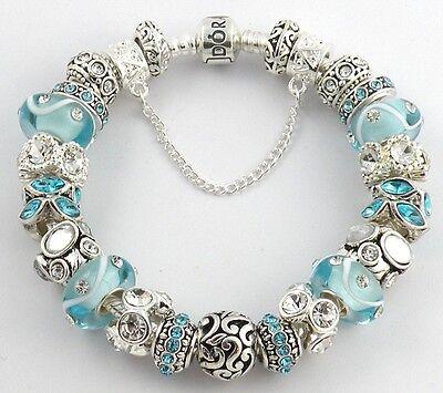 NEW Authentic PANDORA Bracelet with AQUA & WHITE European Charms & Murano Beads