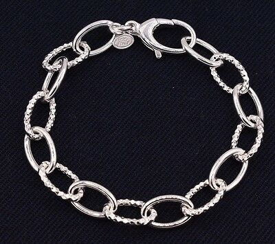 Diamond Cut Textured Oval Rolo Link Bracelet Shiny Real925 Sterling Silver  Diamond Rolo Link Bracelet