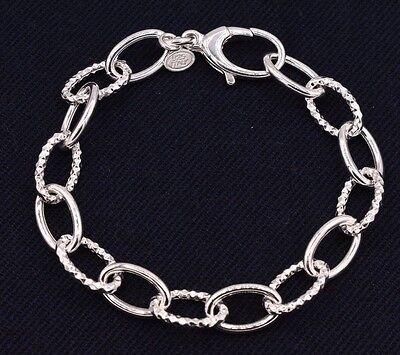 Diamond Cut Textured Oval Rolo Link Bracelet Shiny Real925 Sterling Silver