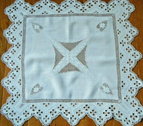 Antique Reticella Lace Tablecloth linen lavishly  h  embroidered Italy original