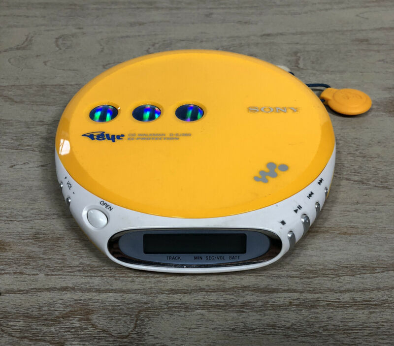 Sony Psyc Walkman D-EJ360 Yellow Portable CD Player - Tested - Works