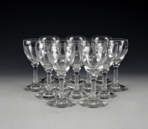 Group of 12 Baccarat Crystal Cordial Glasses in Chambolle, Signed