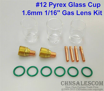 15 Pcs Tig Welding Torch Gas Lens 12 Pyrex Cup Kit For Wp-92025 Series 116