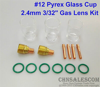 15 Pcs Tig Welding Torch Gas Lens 12 Pyrex Cup Kit For Wp-92025 Series 332