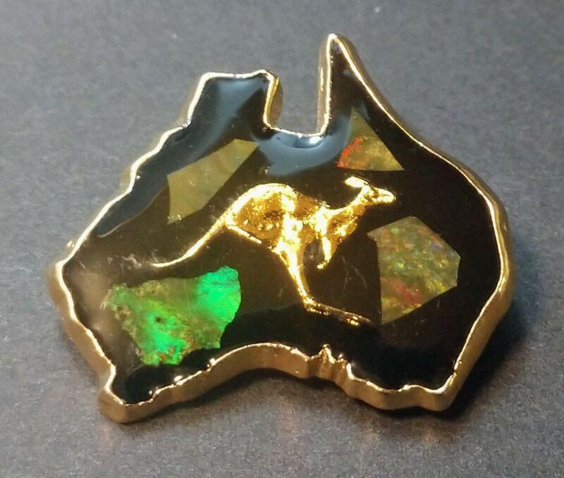 Vintage Australia Kangaroo Opal Chip Pin Brooch