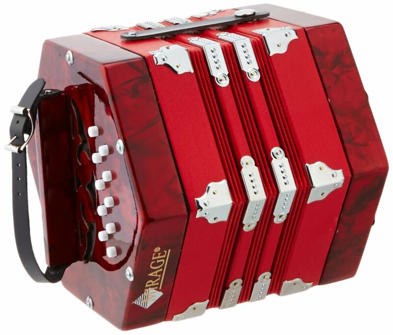 Mirage C7001 20-Button 40-Reed Concertina Accordion with Hard Case, Red