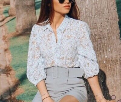 Zara Floral Organza Blouse Top Shirt Size L Sold out BNWT AW19