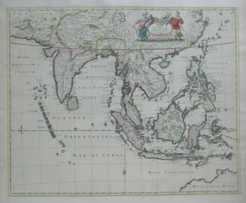 Original 1662 Map SOUTHEAST ASIA India Philippines Siam Sumatra Java Taiwan Laos