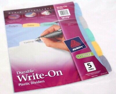 Avery Advantages Durable Write-on Plastic Dividers 5 Tabs 16170