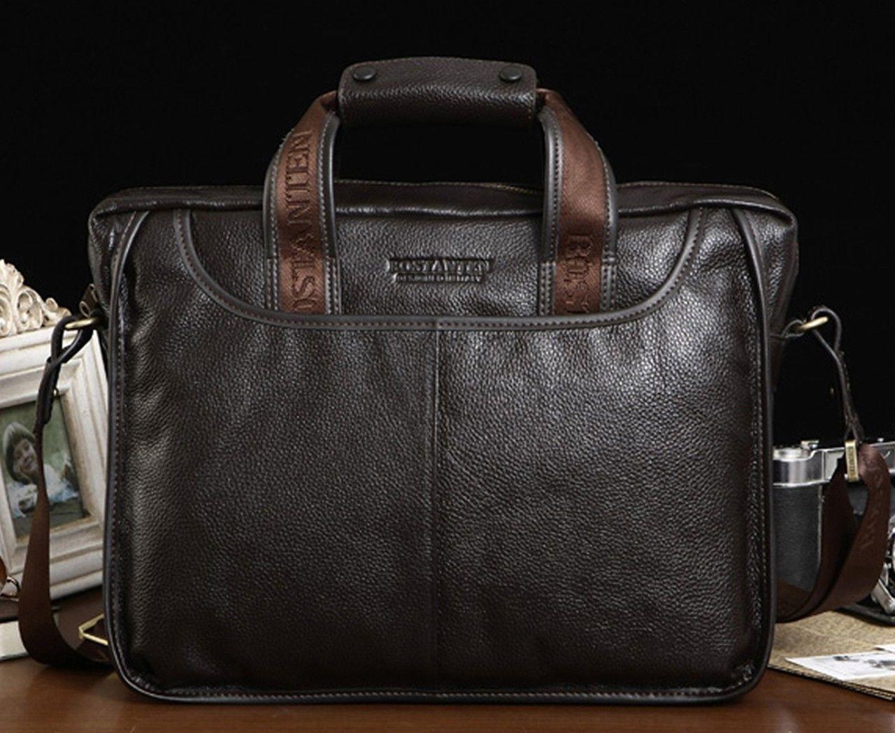 New Men's Real Leather Briefcase Handbag Tote Attache Cases