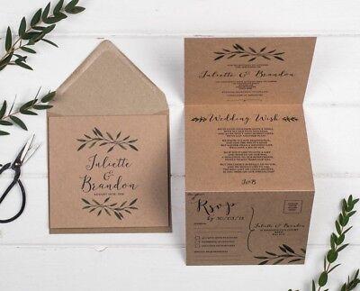 Rustic Wedding Invitation - Brown Kraft Woodland Sample ()