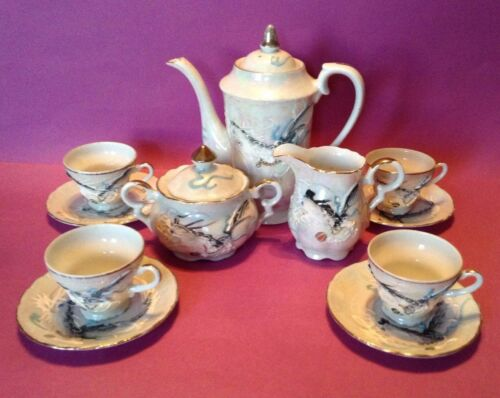DragonWare Tea Set - Gray Luster Teapot Sugar Creamer - 4 Cups & Saucers - Japan