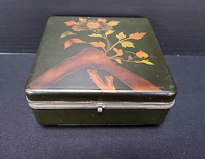 BOX LACQUER CHINESE GREEN DECORATION JAPANESE FLORAL MOUNT FUJI 1900 (C311)