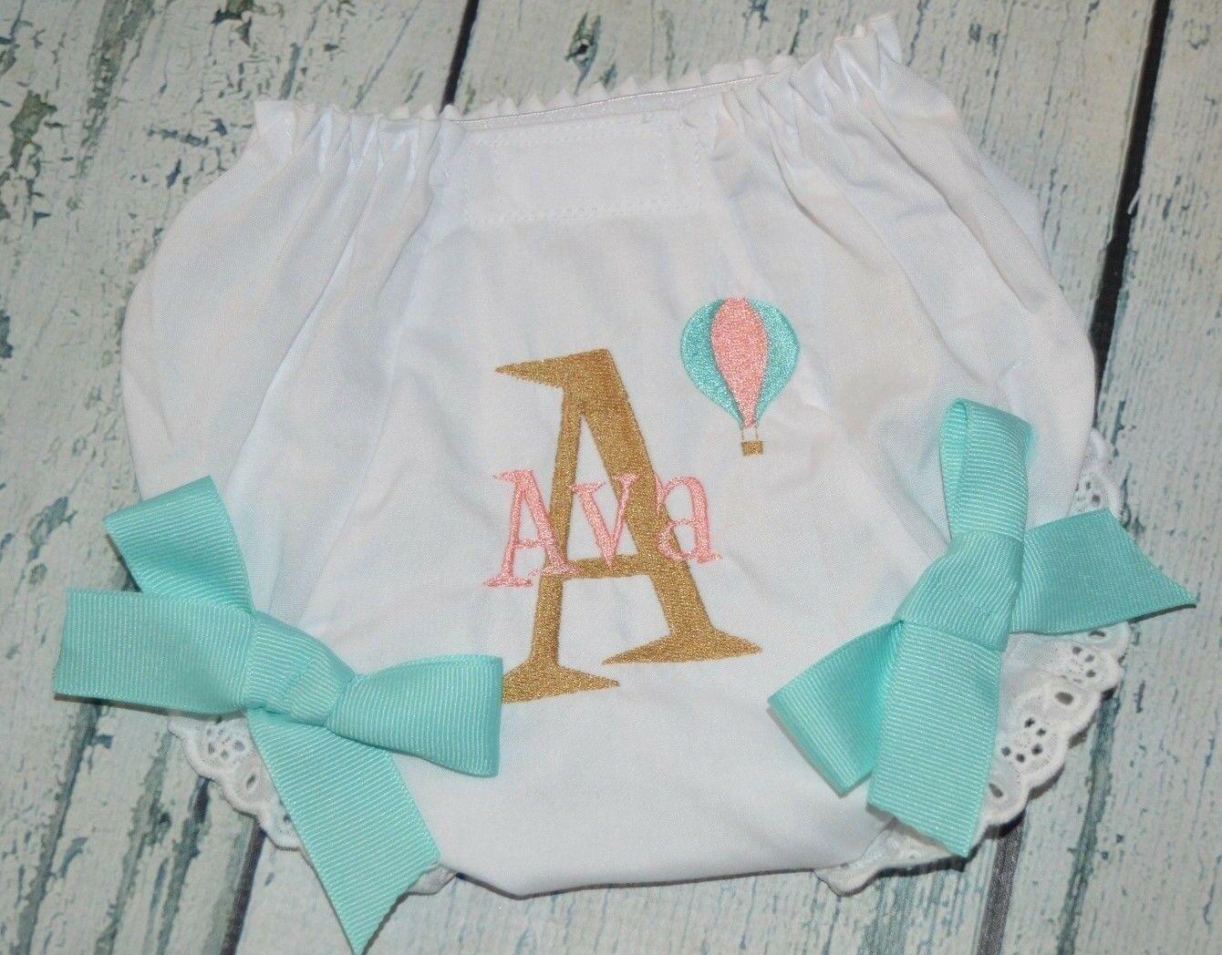 как выглядит Трусики под подгузники Personalized  Hot Air Balloon Bloomers Your Baby Name Diaper Cover  12-24 Month фото